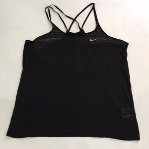 Black Nike Dri-Fit burnout L Tank stripe soft